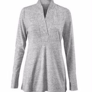 Cabi 3060 Flecked Grey Placket Tee Top Shirt M